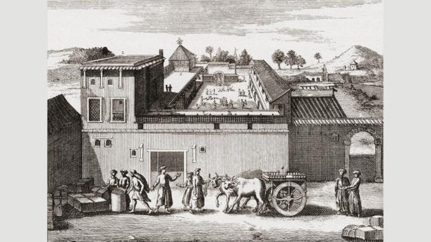 The East India Company factory at Surat, shown here in 1680 (Credit: Classic Image/Alamy)