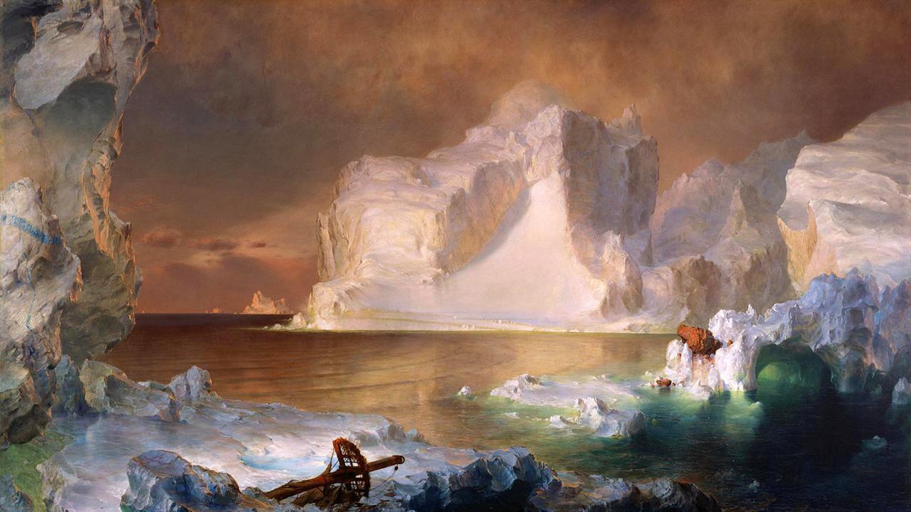 Gli Iceberg di Frederic Edwin Church. Un dipinto che riflette la visione dell'Artico nel 19esimo secolo. È ancora così? Tra le notizie del mondo dell'arte di questa settimana, scopriamo che no, il nostro rapporto con la natura è molto cambiato (Credit: Dallas Museum of Art).