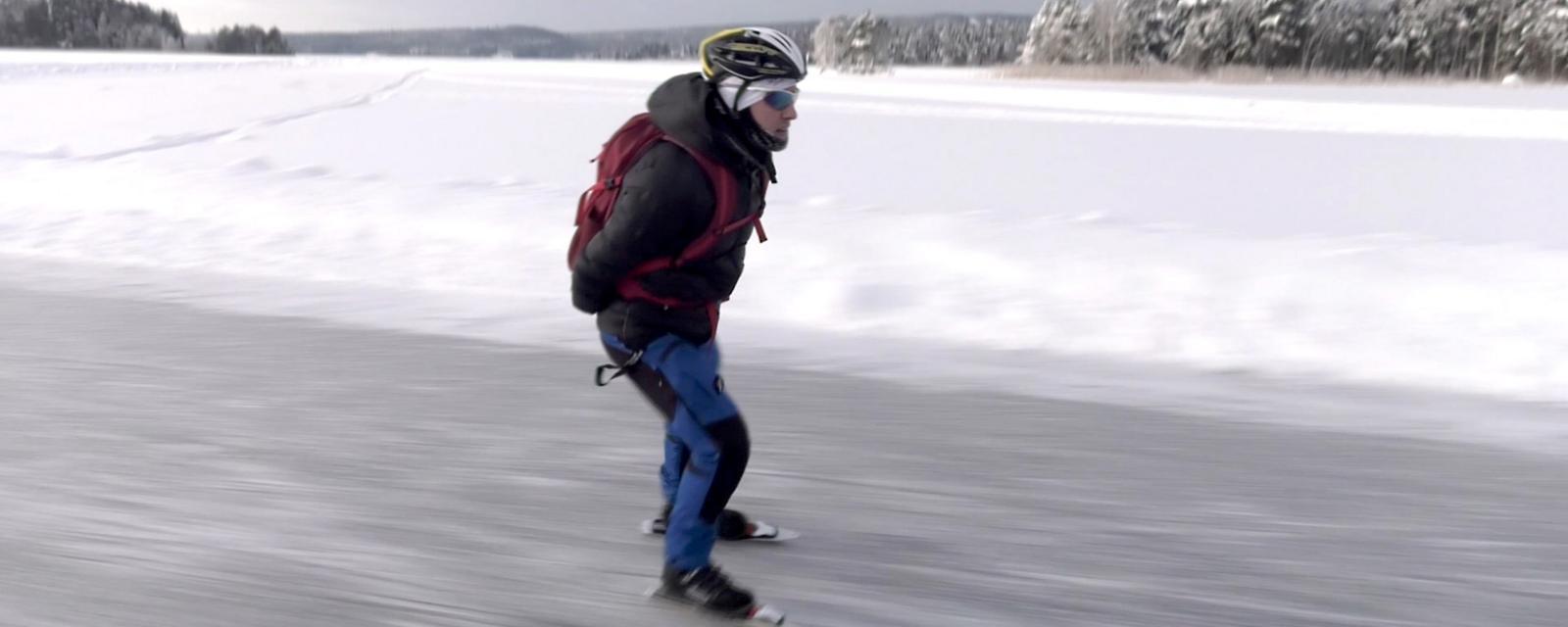 The man who ice skates to work