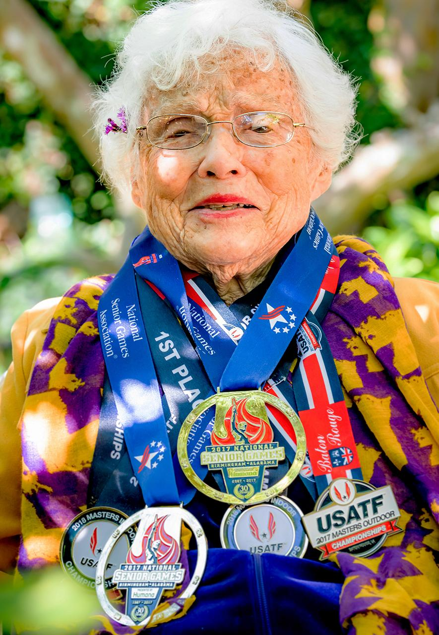 Julia 'Hurricane' Hawkins is 104, holds world records for her age group in sprinting, and has been competing in 'Olympics' for over-50s since the '80s (Credit: Margaret Matens)