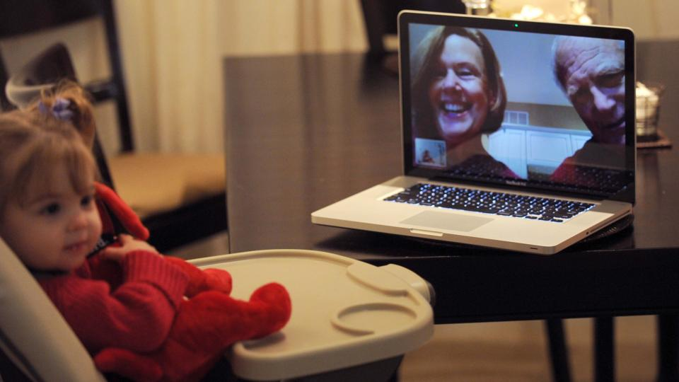 baby highchair skype grandparents