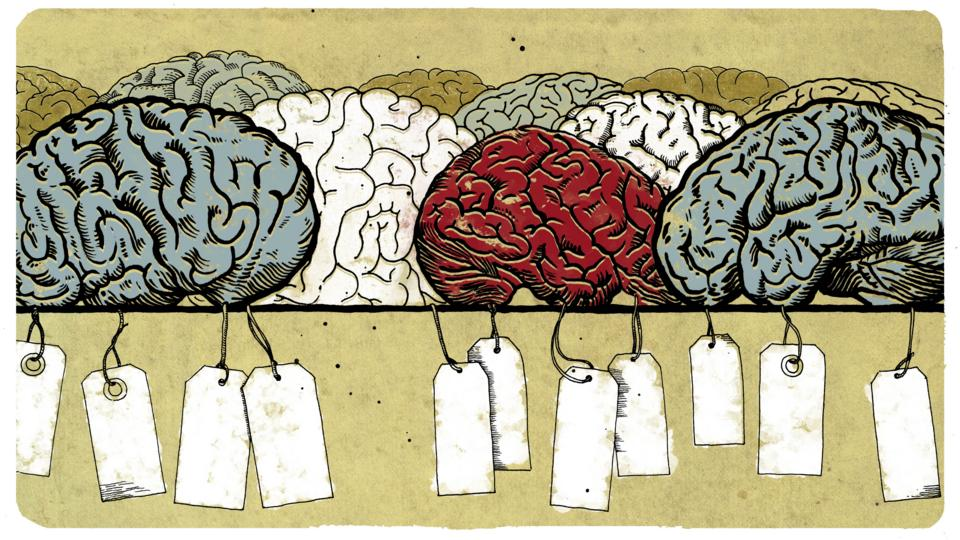 Illustration of human brains with labels attached (Credit: Emmanuel Lafont)