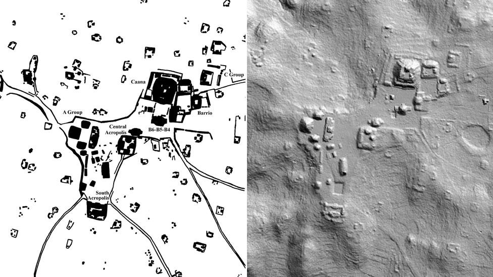 Traditional hand drawn maps can be contrasted with a 2D LiDAR imageof Caracol in which terraces, topography and other archaeological remains are visible. (Copyright: A&D Chase)