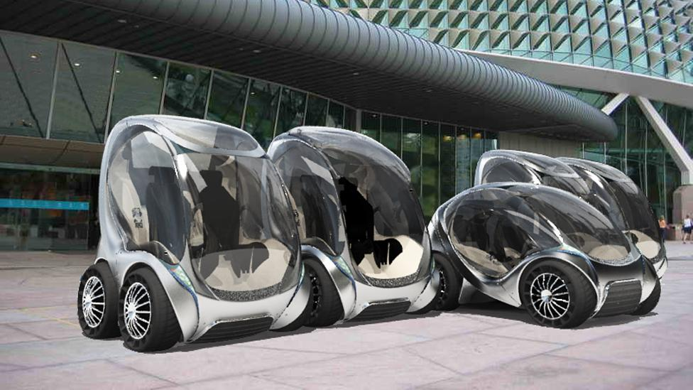 The CityCar is another foldable design from by MIT. The electric-powered car is designed for small streets and folds in on itself when parked. (Copyright: MIT Medialab)