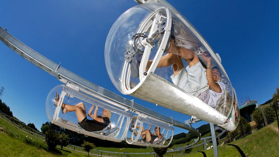 The Schweeb is a pedal-powered monorail being trialled at a New Zealand adventure park. The all-weather pods require little effort to get moving. (Copyright: Schweeb)