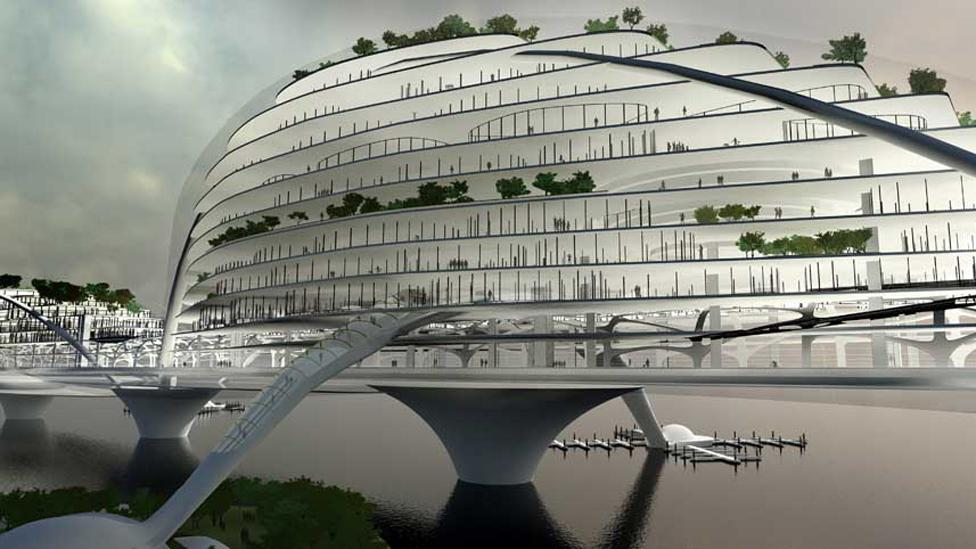 This concept, the Paik Nam June Media Bridge, would house roads, parks, offices and even a museum in a structure crossing the Han River near Seoul. (Copyright: Planning Korea)