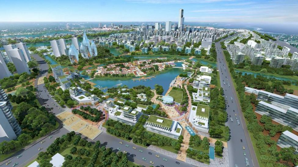 The biggest sustainable city takes shape; China's Tianjin Eco-City will house more than 350,000 people. (Copyright: Sino-Singapore Tianjin Eco-city Development and Investment)