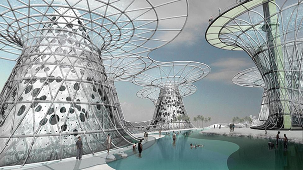 US architect Phu Hoang's design for the Middle East's Dead Sea is a series of artificial islands to capture water otherwise be lost by evaporation. (Copyright: MODU)