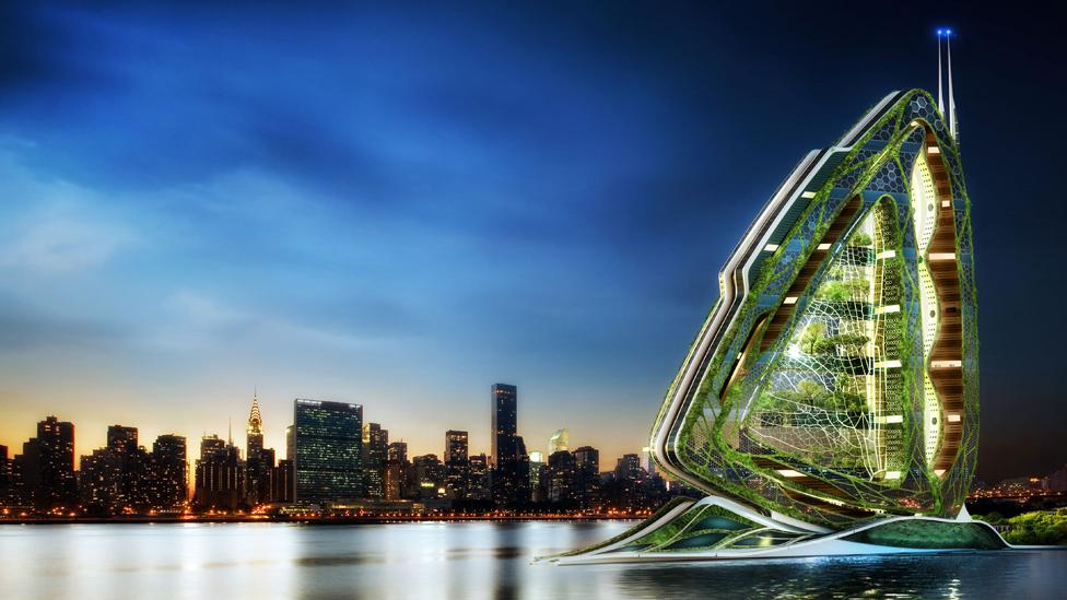 Another of their concepts Is the Dragonfly city farm, which grows crops and feed for animals on multiple levels, and generate power through turbines: (Copyright: Vincent Callebaut)