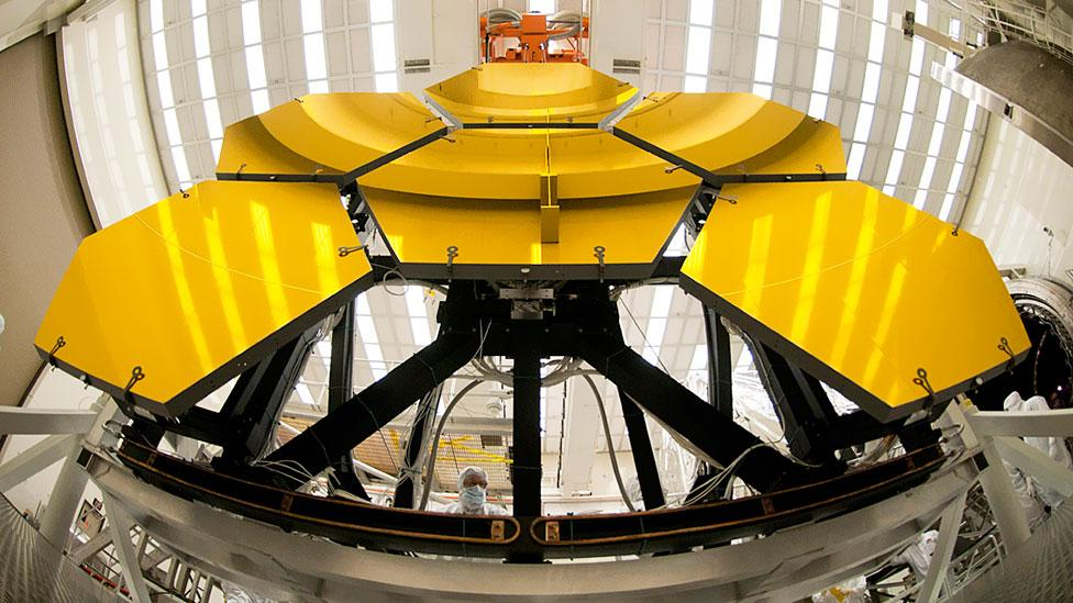 The primary mirror will consist of 18 hexagonal segments made from beryllium, each segment weighing around 20 kilograms. (Copyright: Ball Aerospace)