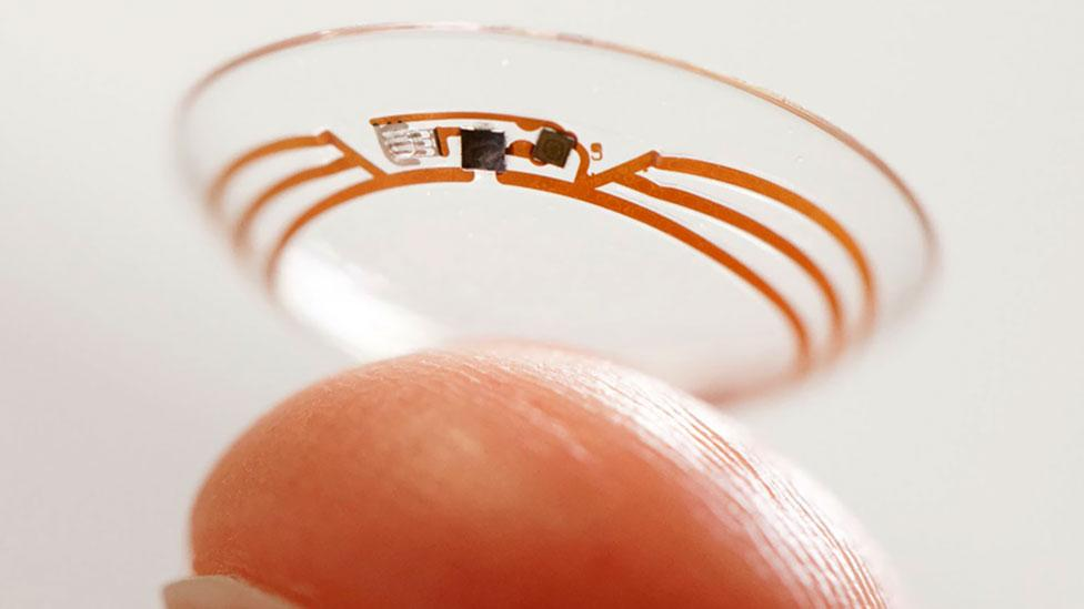 Google is exploring the idea of electronics in the eye, held on a contact lens, to monitor health. (Google)