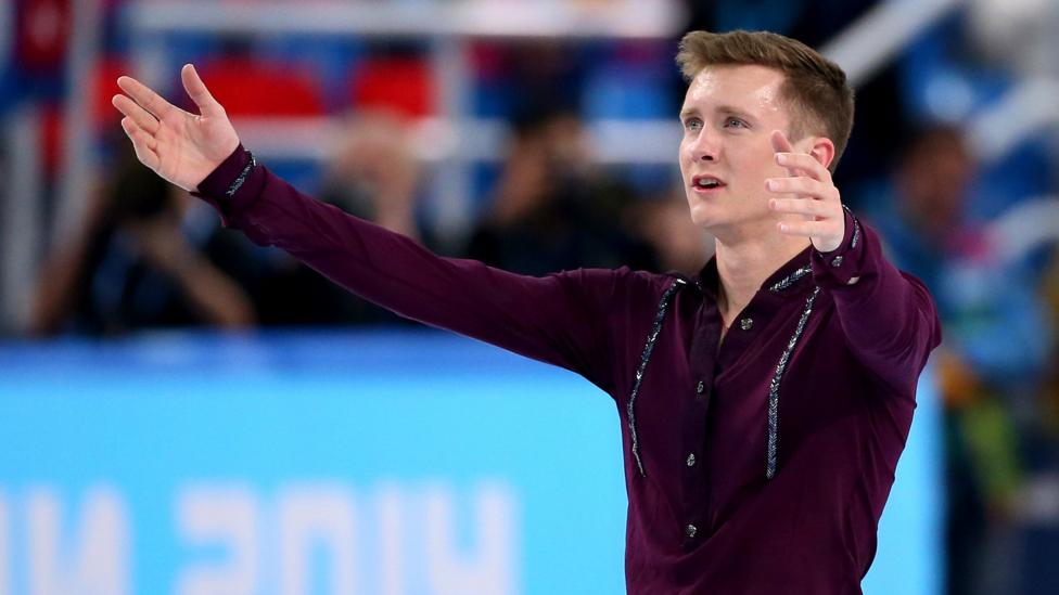 US figure skater Jeremy Abbott at the end of his short program  at the 2014 Winter Olympics. In pain, he got up and finished after disastrous fall. (Robert Cianflone/Getty Images)