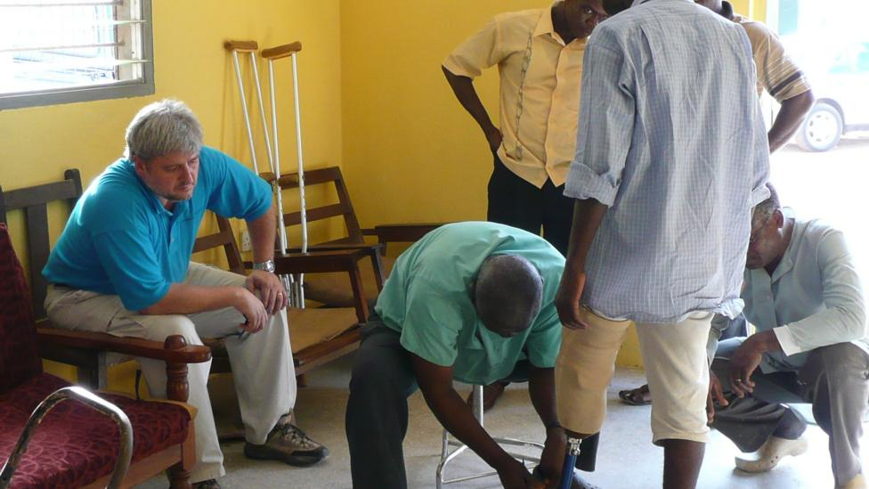 A recipient in Ghana wears a donated prosthetic leg (Standing With Hope)