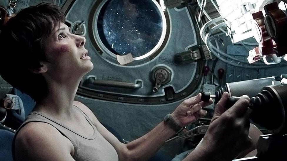 Sandra Bullock, not having the best experience of space travel in the film Gravity (Warner Bros)
