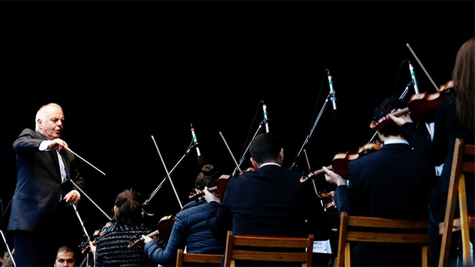 Daniel Barenboim conducts the West-Eastern Divan Orchestra (Reuters)