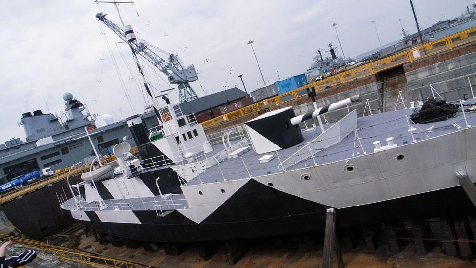 Dazzle camouflage on a British ship (Antony Shepherd/Flickr/CC BY-ND 2.0)