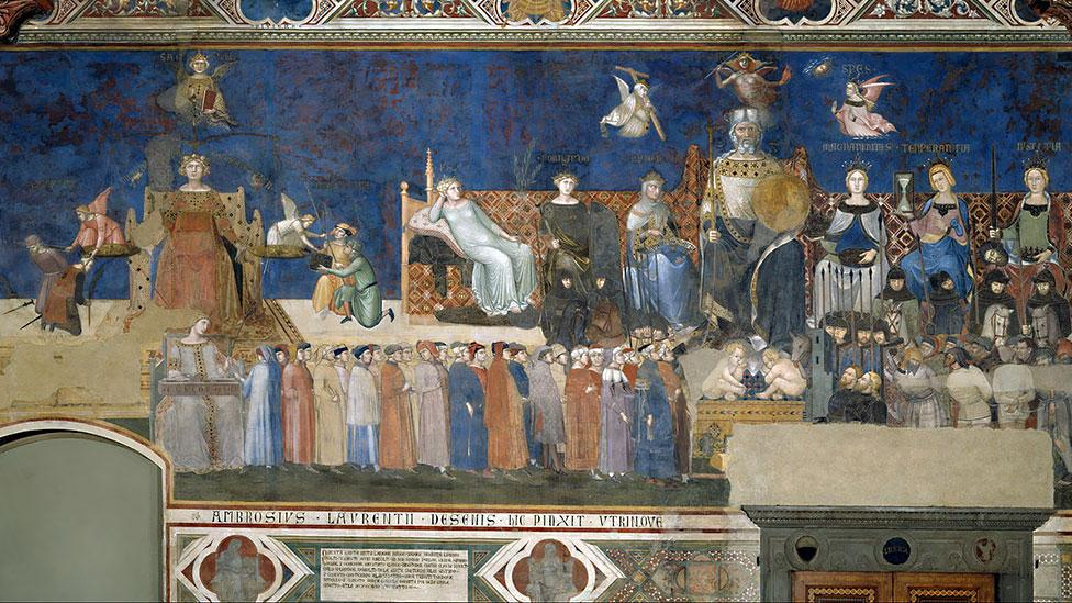 Decapitation was an honourable death in 1339 when Allegory of Good Government was painted (Ambrogio Lorenzetti)