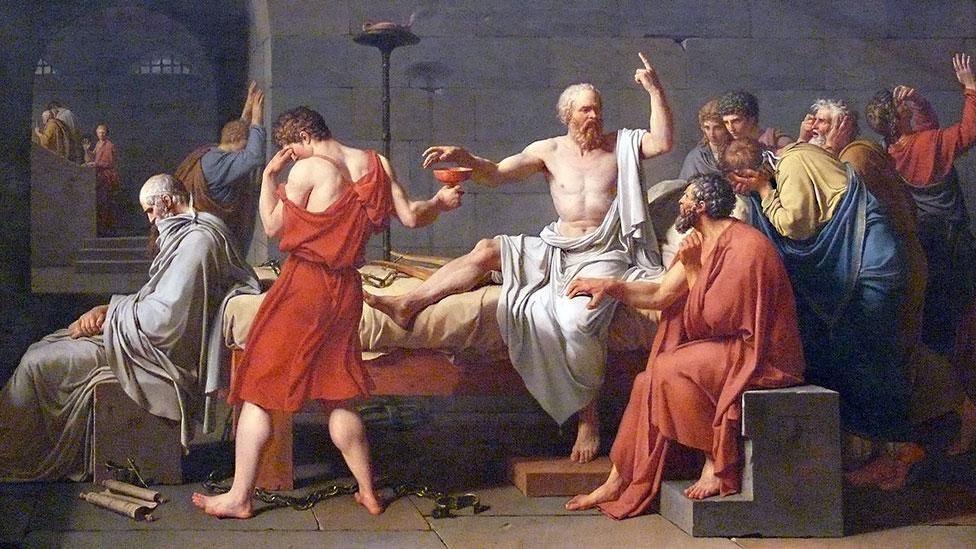 The jury-ordered suicide of Socrates as depicted by Jacques-Louis David (Jacques Louis David/Foto Ad Meskens)