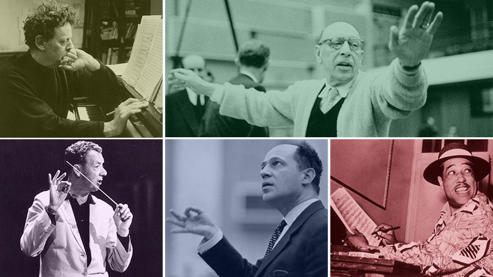 Clockwise from top left: Philip Glass, Igor Stravinsky, Duke Ellington, Pierre Boulez, Benjamin Britten (Moviestore Collection Ltd, Alamy/Erich Auerbach/Keystone/Getty Images)
