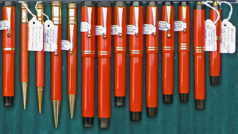 Pen collectors are serious about labelling and displaying their prized collection. (Jeremy Collingridge)