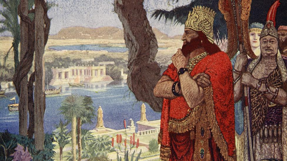 An illustration from the early 20th Century depicts Nebuchadnezzar surveying the Hanging Gardens of Babylon (Corbis)