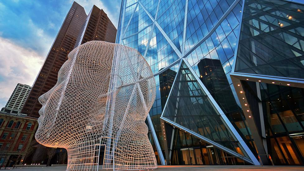 This sculpture, named Wonderland, greets those working in downtown Calgary. (Credit: AB Canada/Getty Images)