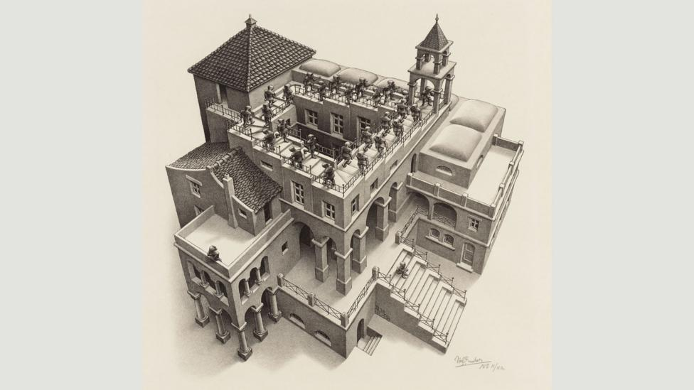 Escher was known for executing his prints to a very high level, such as Scaffold Ascending and Descending (1960). (Credit: 2015 The M.C. Escher Company – Baarn, The Netherlands)