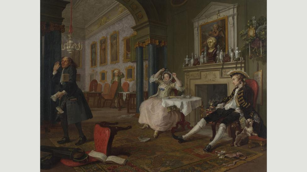 Hamilton's work has some of the satirical bite of earlier artworks like Hogarth's Marriage à-la-Mode (Credit: William Hogarth)