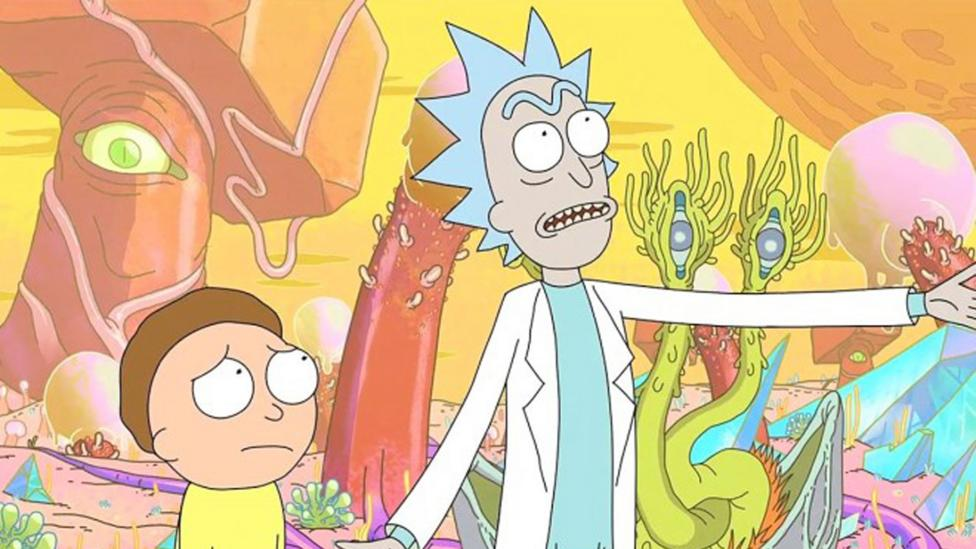 The show Rick and Morty featured an elaborate alternate-history story – in which Rick and Morty ultimately replace their  parallel universe doubles (Credit: Adult Swim)