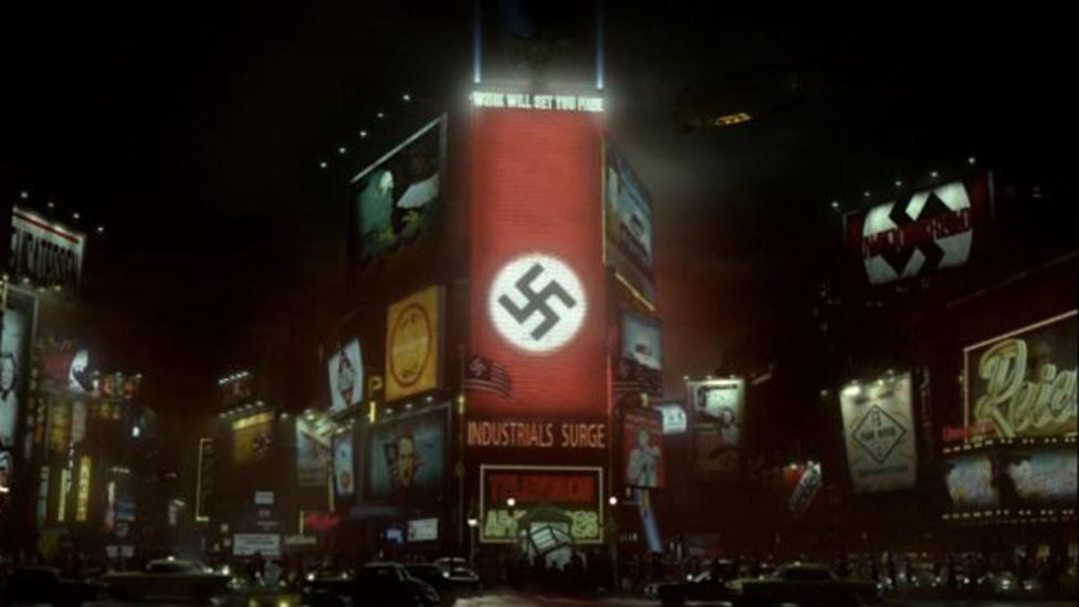 The Man in the High Castle has rendered an extremely detailed alternate history of America under the rule of the Nazis, including a transformed Times Square (Credit: Amazon)