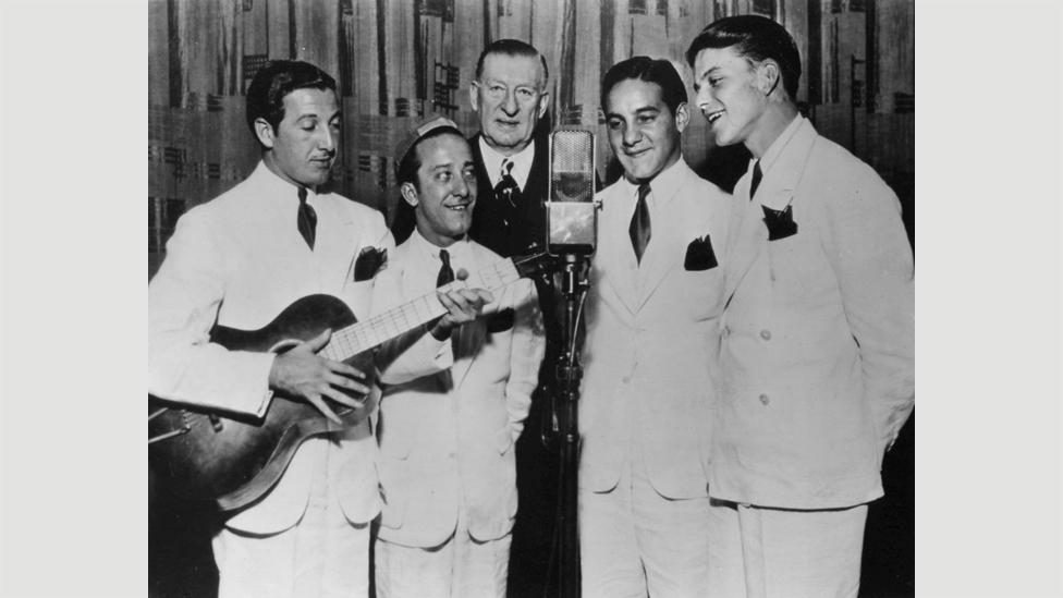 """Sinatra sang with The Hoboken Four, seen here in 1935, before joining bandleader Tommy Dorsey, who he'd later call """"The General Motors of the music business"""". (Credit: Wikipedia)"""