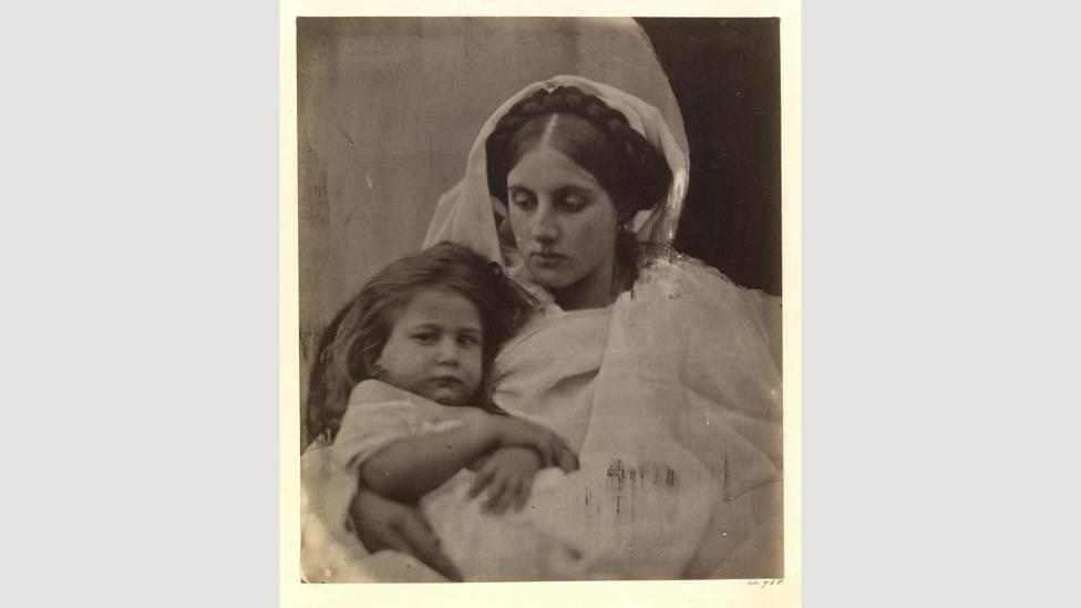 Cameron completely scratched off the emulsion in the corner of her 1864 photograph La Madonna Vigilante (Credit: Victoria and Albert Museum, London)