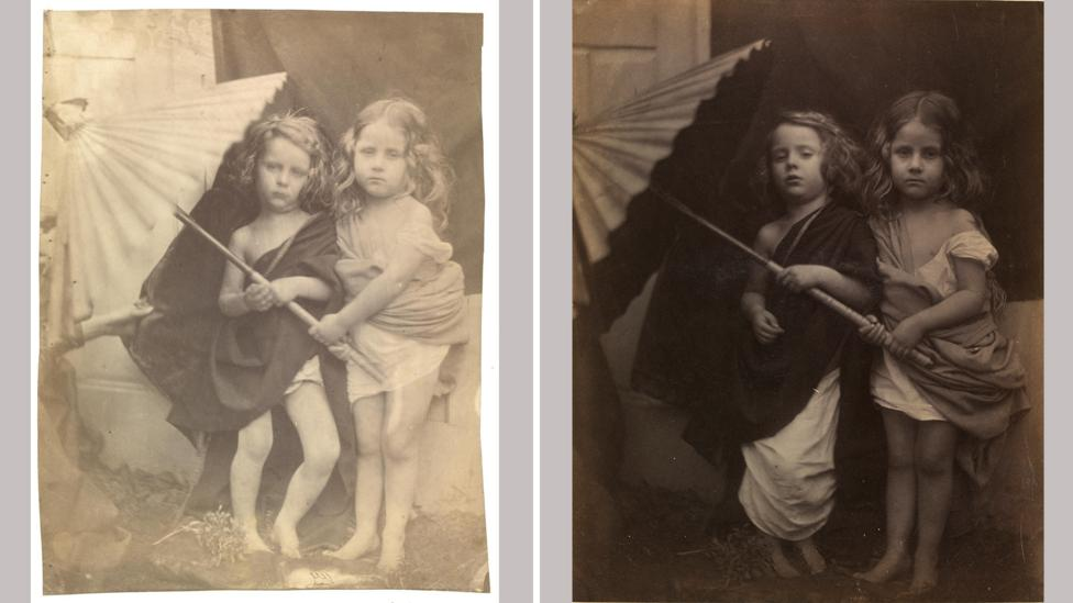These two photographs of Paul and Virginia give viewers a glimpse into Cameron's process (Credit: Victoria and Albert Museum, London)