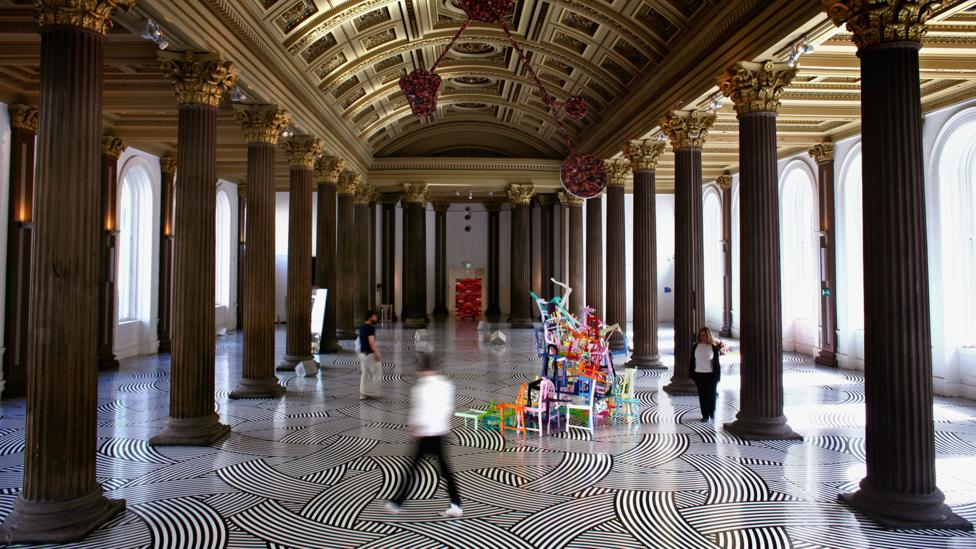 An installation by Turner Prize-nominated Scottish artist Jim Lambie at the Gallery of Modern Art in Glasgow (Credit: Jeff J Mitchell/Getty Images)