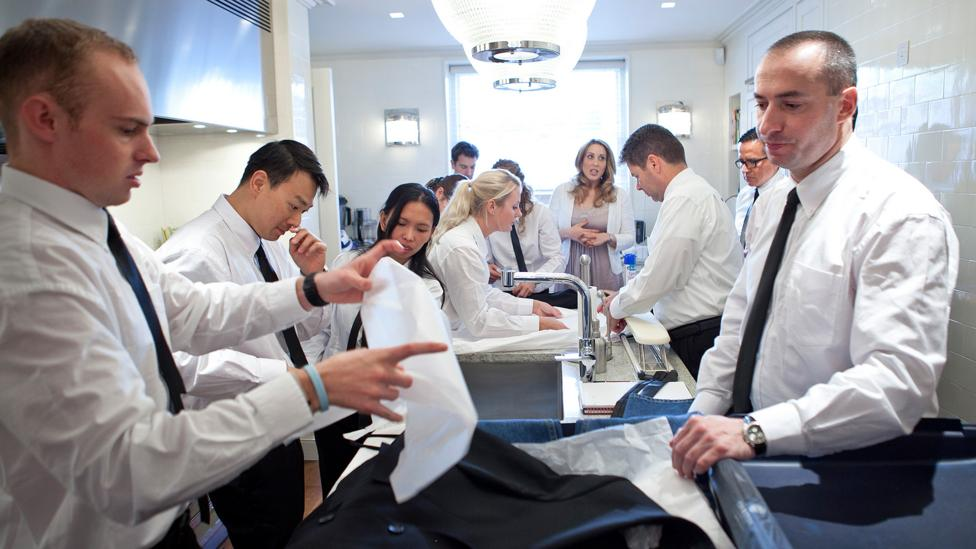 Students at the British Butler Institute; those that become super-butlers can expect to earn $150,000 or more (Credit: British Butler Academy)