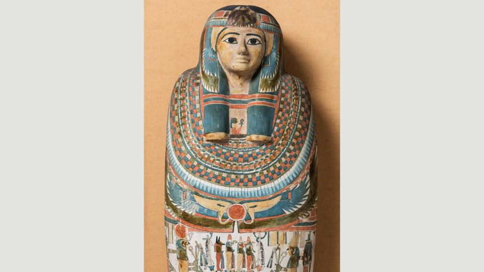 Elaborate sarcophagi depict faces with heavy eye-liner – but make-up for the ancient Egyptians was functional as well as aesthetic (Credit: Two Temple Place/Macclesfield Museum)