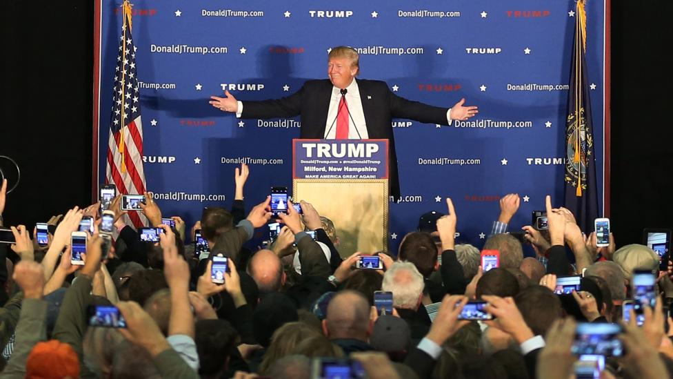 Republican Presidential candidate Donald Trump speaks during a campaign event at an athletic club on 2 February 2016 in Milford, New Hampshire. (Credit: Joe Raedle/Getty Images)