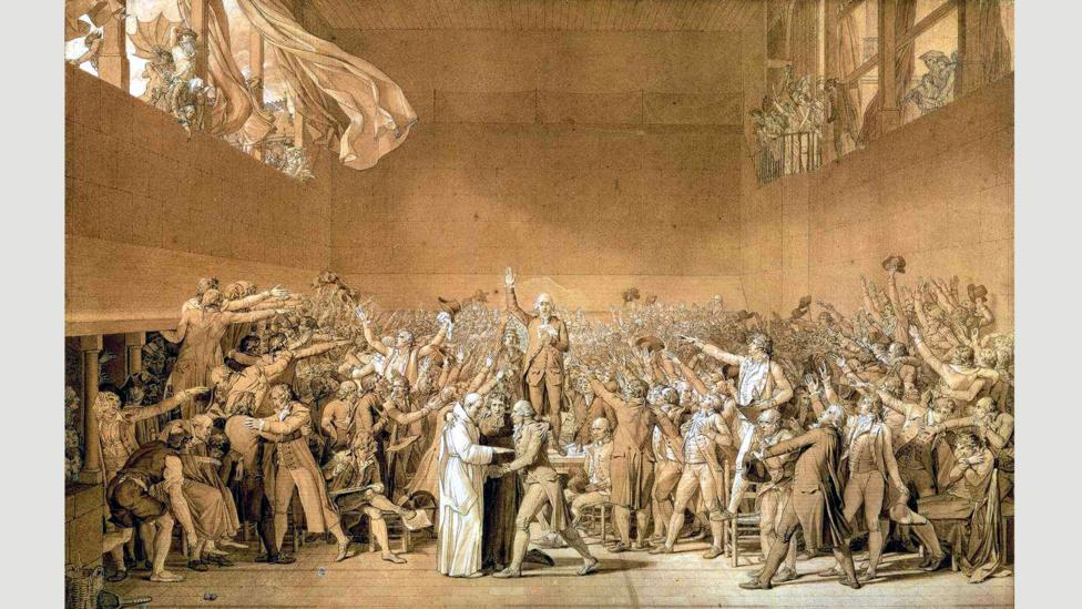 A sketch for Jacques-Louis David's unfinished 1794 painting The Tennis Court Oath (Credit: Wikimedia Commons)