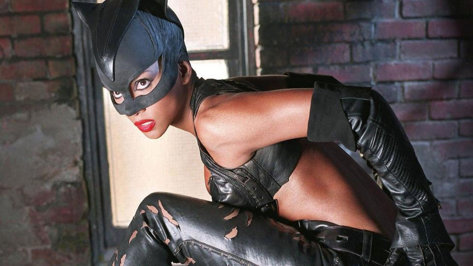The 2004 film Catwoman put Halle Berry in a midriff-baring dominatrix suit and had her bring to justice an evil cosmetics mogul played by Sharon Stone (Credit: Warner Bros)