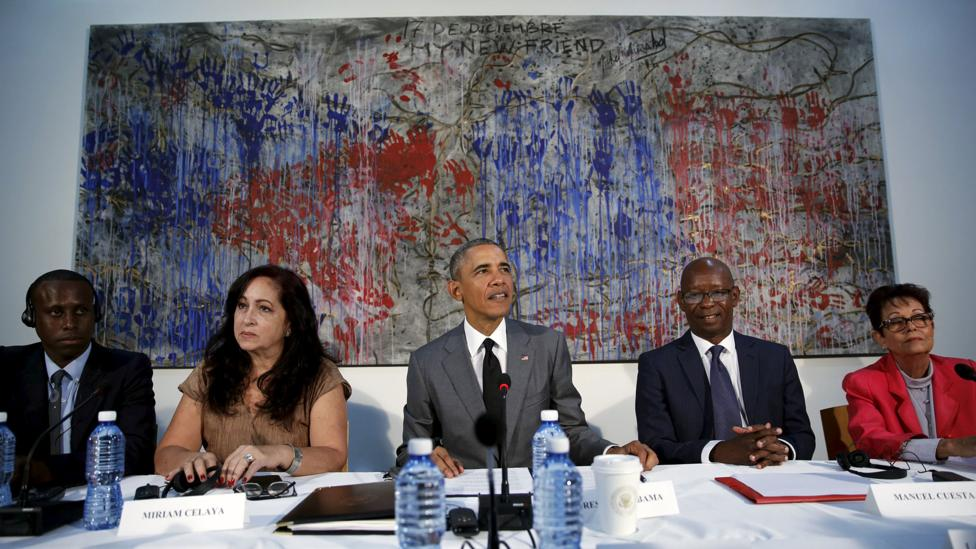 Michel Mirabal's My New Friend provided the striking backdrop for Obama's meeting with a group of political dissidents in Cuba (Credit: Reuters)