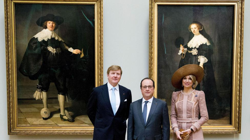 In front of the unveiling of two Rembrandt portraits, Francois Hollande was transformed into a champion of public culture (Credit: Rex Features)