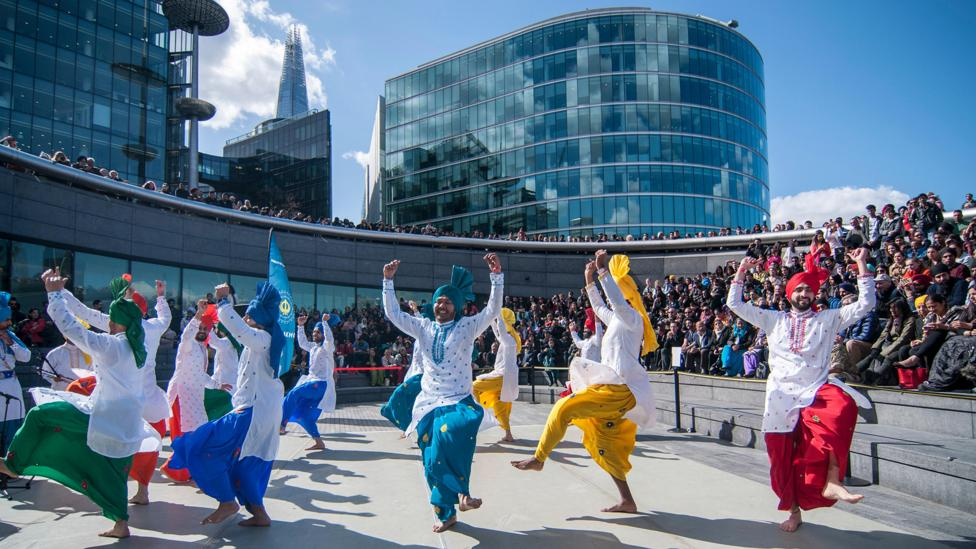 The Vaisakhi (Sikh New Year) celebrations, organised by the Mayor of London, take place at City Hall in April 2015 (Credit: Stephen Chung/Alamy)