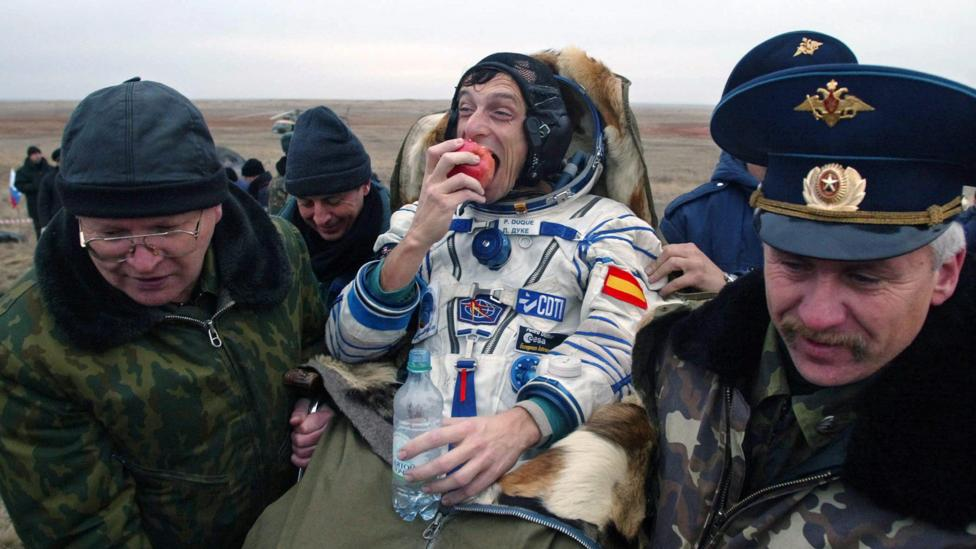 Cosmonauts returning to Earth near Kazakhstan's Baikonur are given apples to celebrate touchdown (Credit: Alamy)