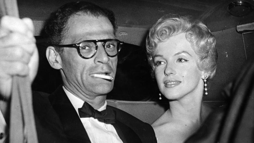 """""""Egghead weds hourglass"""" read the famous headline in Variety, when the playwright Arthur Miller and Marilyn Monroe married in 1956 (Credit: Getty Images)"""