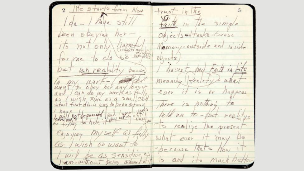 The notebooks are often written in a scrappy, hurried hand, with crossings-out and annotations (Credit: Fragments: Poems, Intimate Notes, Letters; Farrar, Straus and Giroux)