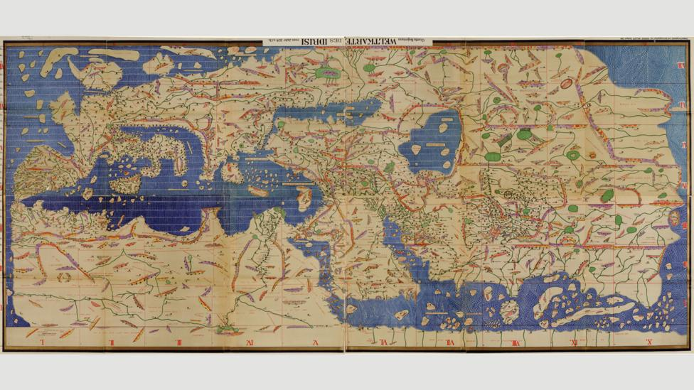 Muhammad Al Idrissi's map Tabula Rogeriana from 1154, upside down with north at the top (Credit: Wikipedia)