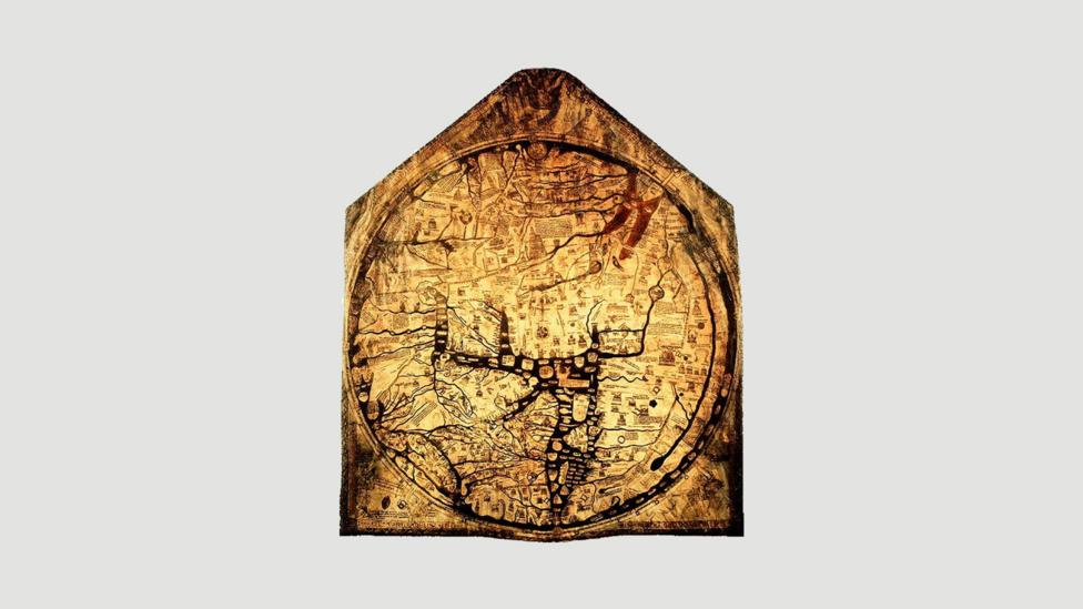 The Hereford Mappa Mundi from 1300 (Credit: Wikipedia)