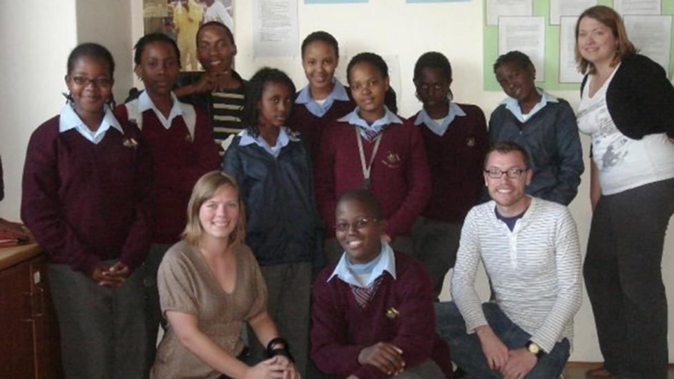 Ellan Dickieson (bottom left) with peers while on an education programme in Botswana (Credit: Sepelun Kwape)