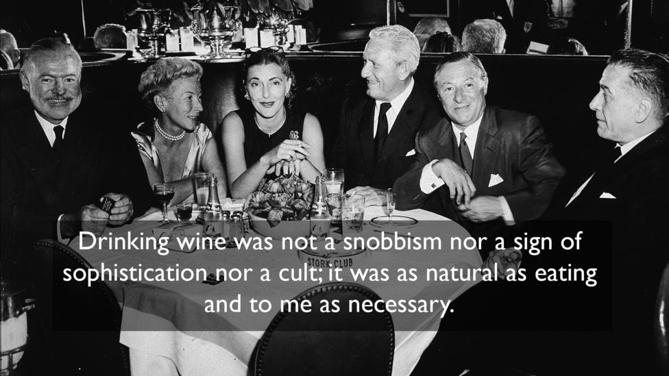On drinking habits, from A Moveable Feast