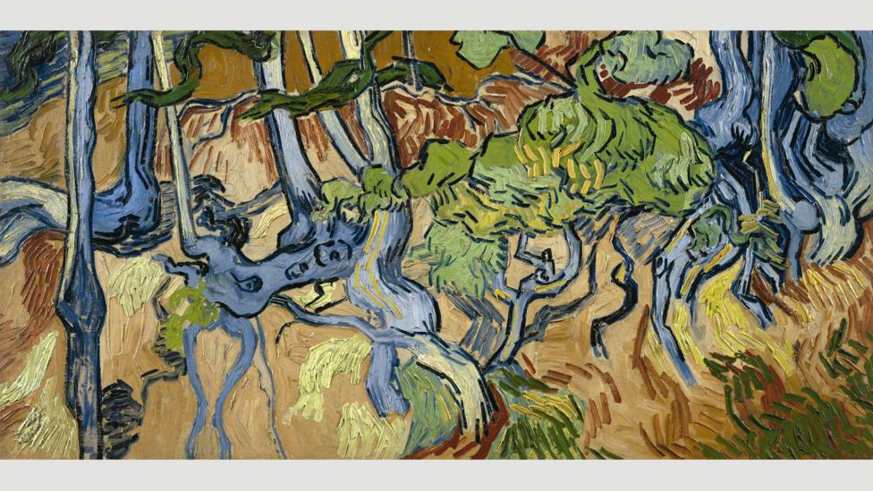 Van Gogh's Tree Roots features a complicated, 'all-over' composition, with no defined point of focus (Credit: Van Gogh)